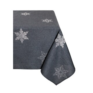 Glisten Snowflake Embroidered Christmas Tablecloth, 70 by 144-Inch, Grey