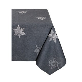 Glisten Snowflake Embroidered Christmas Tablecloth, 70 By 144 Inch, Grey