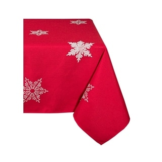 Glisten Snowflake Embroidered Christmas Tablecloth, 70 by 120-Inch, Red
