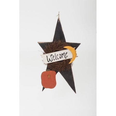 Primitive Rustic Wooden XL Fall Welcome Star with Pumpkin