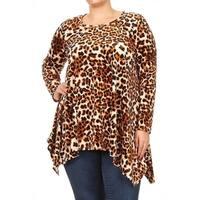 Women's Plus Size Brown Leopard Pattern Tunic