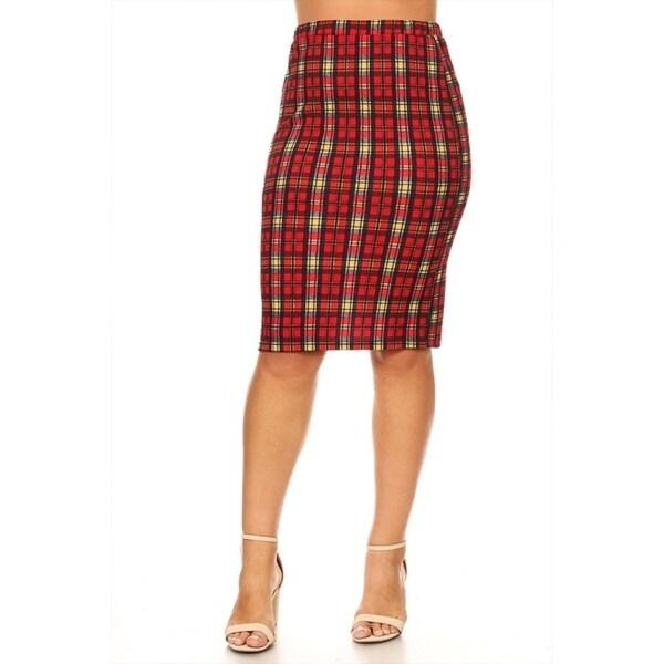 fb1d9b502f0 Shop Women s Plus Size Plaid Pattern Fitted Pencil Skirt - On Sale ...