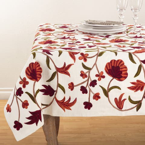 Embroidered Floral Design Cotton Tablecloth