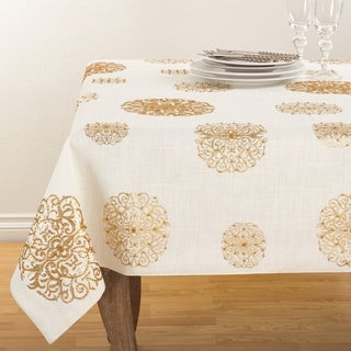 Beaded Medallion Design Elegant Cotton Table Topper Tablecloth