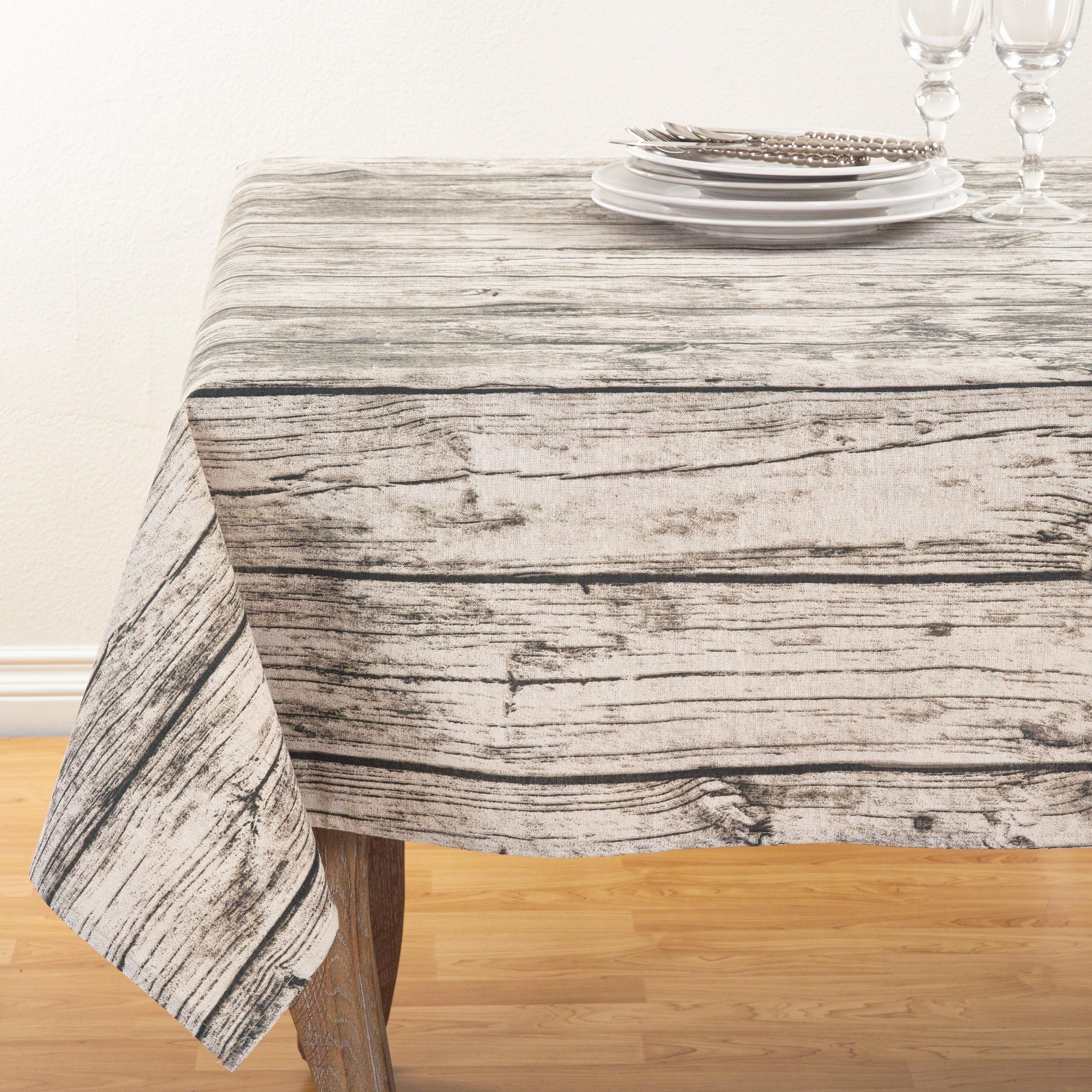 Brilliant Wood Grain Design Cotton Tablecloth 60 X 60 Home Interior And Landscaping Ponolsignezvosmurscom