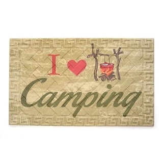 """Recycled Rubber Door Mat, 18"""" x 30"""", I Love Camping"""