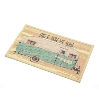 """Recycled Rubber Door Mat, 18"""" x 30"""", This Is How We Roll"""
