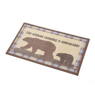 """Indoor/Outdoor Textilene Printed Mat, 18"""" x 30"""", Life without camping is unbearable"""