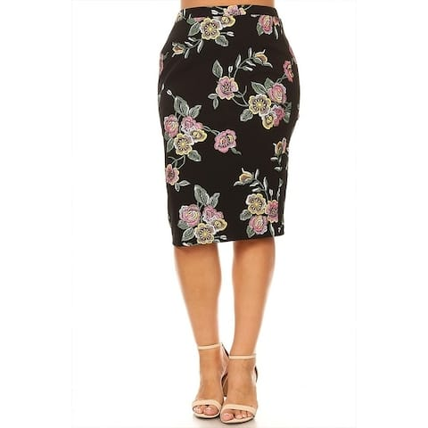 Women's Plus Size Floral Pattern Fitted Pencil Skirt