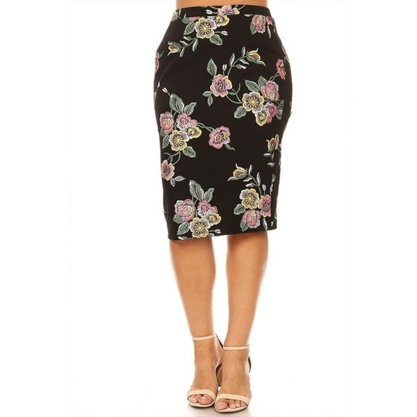 3c813bd70e30 Shop Women's Plus Size Floral Pattern Fitted Pencil Skirt - On Sale ...