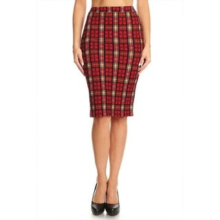 Women's Plaid Pattern Fitted Pencil Skirt