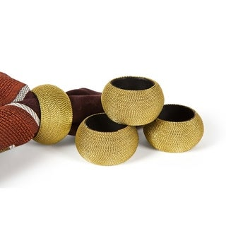 Cord Wrapped Plastic Napkin Rings,Set of 4,Gold