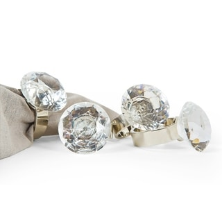 Bling Diamond Engagement Ring Metal Napkin Rings, Set of 4, Silver