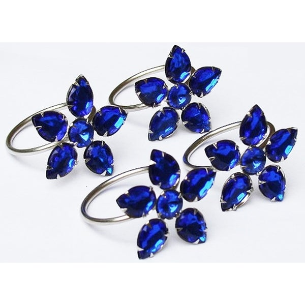 Crystal Flower Metal Napkin Rings,Set of 4,Blue