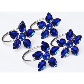 Crystal Flower Metal Napkin Rings,Set of 4,Blue
