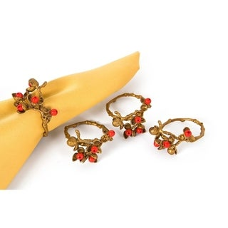 Holly Berry Holiday Painted Brass Metal with Resin Berry Napkin Rings, Set of 4