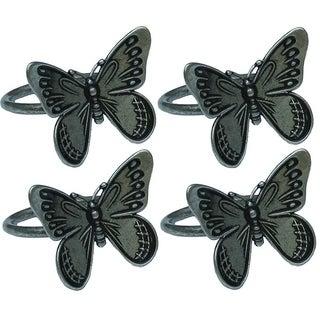 Flutter Spring Butterfly Brass Metal Napkin Rings, Set of 4, Pewter