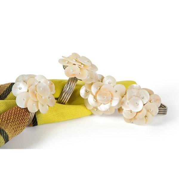 Mother of Pearl Elegant Flower Metal Napkin Rings,Set of 4