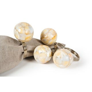 Mother of Pearl Elegant Ball Metal Napkin Rings,Set of 4