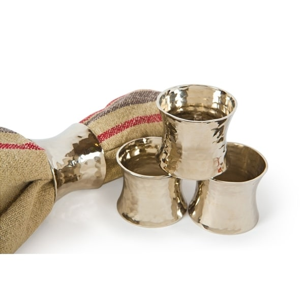Taper Hammered Silver Br Metal Napkin Rings Set Of 4