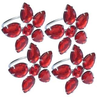 Crystal Flower Metal Napkin Rings,Set of 4,Red