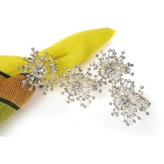 Snowflake Holiday Elegant Jeweled Metal Napkin Rings, Set of 4,Silver