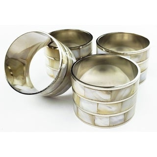 Mother of Pearl Inlay Elegant Metal Napkin Rings,Set of 4