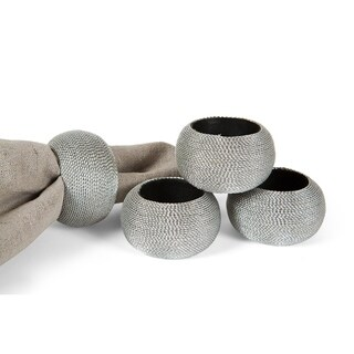 Cord Wrapped Plastic Napkin Rings,Set of 4,Silver