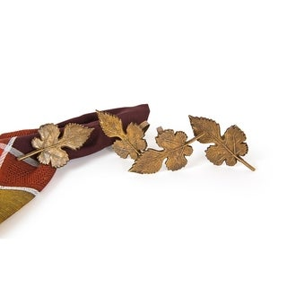 Autumn Leaf Brass Metal Fall Napkin Rings,Set of 4