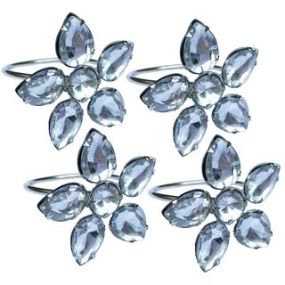 Crystal Flower Metal Napkin Rings,Set of 4,Clear