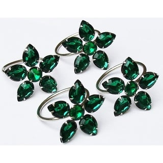 Crystal Flower Metal Napkin Rings,Set of 4,Green