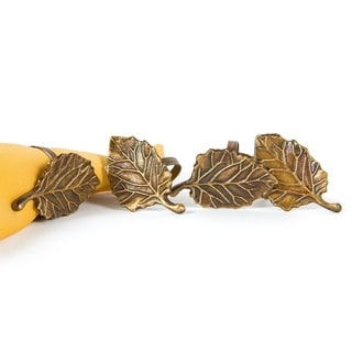 Harvest Leaf Brass Metal Fall Napkin Rings,Set of 4