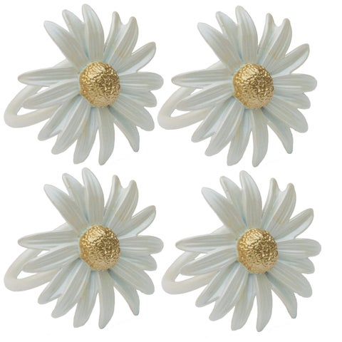 Daisy Spring Flower Painted Metal Napkin Rings, Set of 4,White