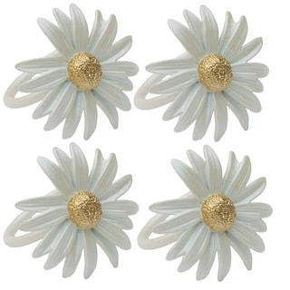 Daisy Spring Flower Painted Metal Napkin Rings, Set of 4,White