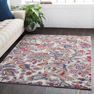 "Distressed Traditional Floral Multicolor Area Rug - 5'3"" x 7'3"""