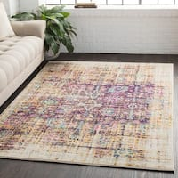 """Overdyed Distressed Traditional Purple/Yellow Area Rug - 5'3"""" x 7'6"""""""