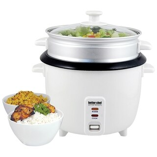 Better Chef 10-cup (20-cups cooked) Rice Cooker with Food Steamer Attachment