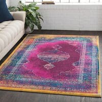 "Overdyed Distressed Medallion Pink Area Rug - 5'3"" x 7'6"""