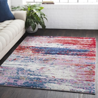 Distressed Abstract Contemporary Red/Navy Area Rug (7'10 x 10'3)