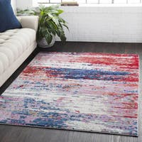 Distressed Abstract Contemporary Red/Navy Area Rug - 7'10 x 10'3