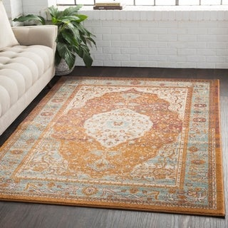 "Medallion Contemporary Oriental Burnt Orange Area Rug - 7'10"" x 10'3"""