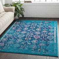 Overdyed Distressed Traditional Blue Area Rug - 7'10 x 10'3