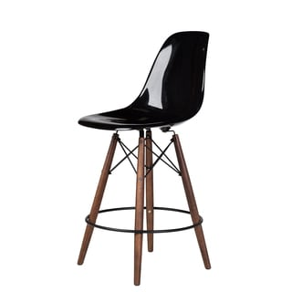 Handmade Fiberglass Mid Century Modern Counter Stool in Black
