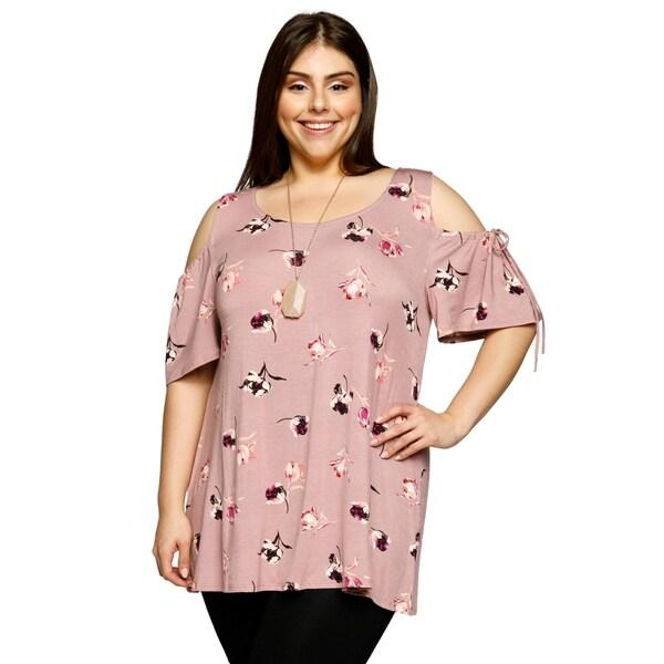 40ddcc614f5c02 Shop Xehar Womens Plus Size Cold Shoulder Short Sleeve Floral Blouse ...