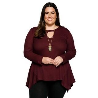 Xehar Womens Plus Size Casual Keyhole Sharkbite Knit Tunic Blouse Top
