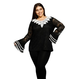 Xehar Womens Plus Size Lace Fit Bell Sleeves Back Keyhole Blouse Top