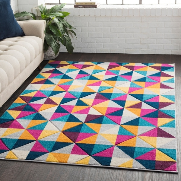Geometric Abstract Modern Yellow/Pink Area Rug - 2' x 3'