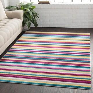 Striped Modern Multicolor Multi Area Rug - 2' x 3'