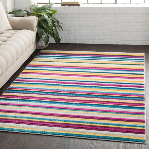 Striped Modern Multicolor Multi Area Rug - 2' x 3'