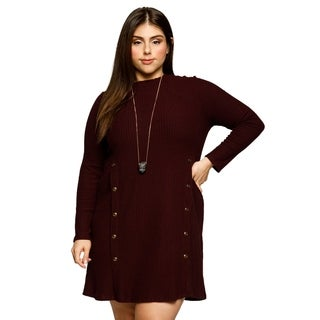 Xehar Womens Plus Size Casual Ribbed Solid Buttons Detail Knit Dress